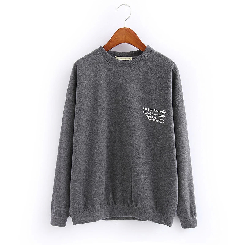 Women Sweatshirts Autumn Fashion gray Letter Embroidery ...