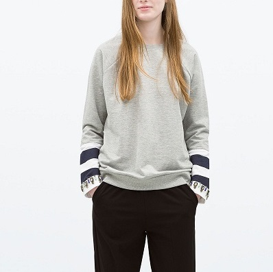 Women Sweatshirts Autumn Fashion Stripe Cuff Beading ...