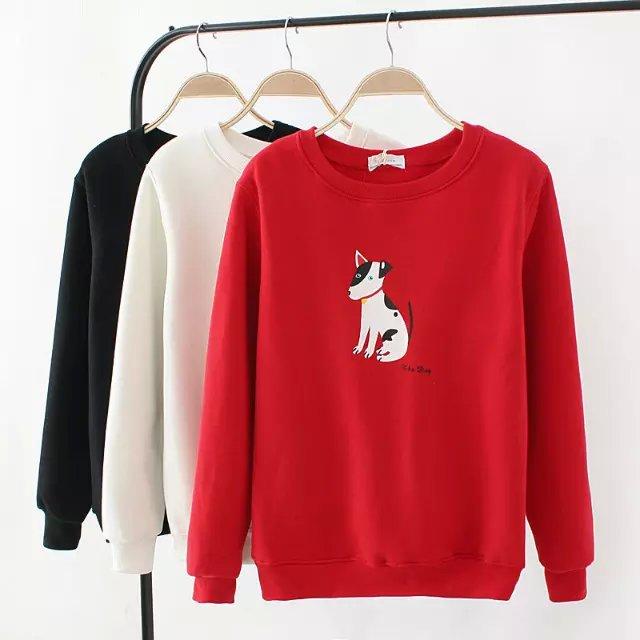 Women Sweatshirts Autumn thick Fashion Dog print sport ...