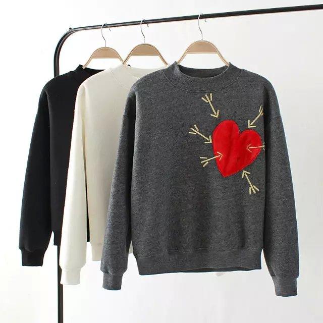 Women Sweatshirts Autumn Thick Fashion Heart Embroidery ...