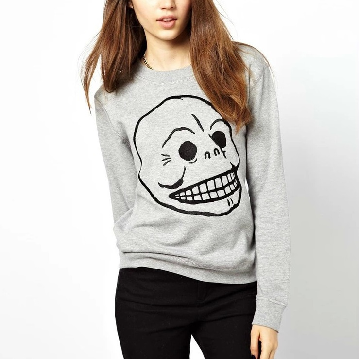 Women Sweatshirts Fashion Autumn Skull head Embroidery ...