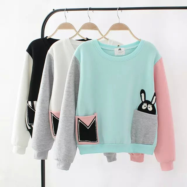 Women sweatshirts Fashion Autumn thick rabbit patchwork ...
