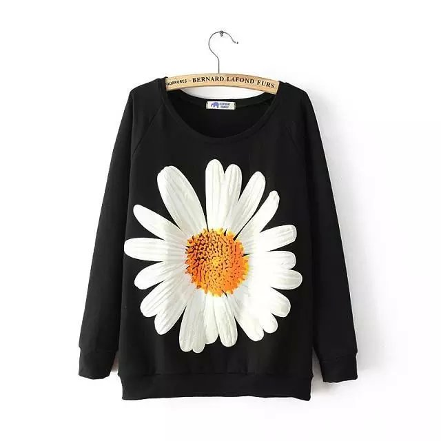 Women Sweatshirts Fashion black sunflower print Pullover ...