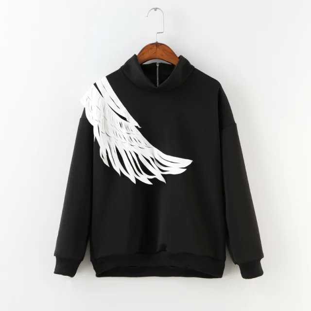 Women Sweatshirts Fashion black Wing Patchwork Sports ...