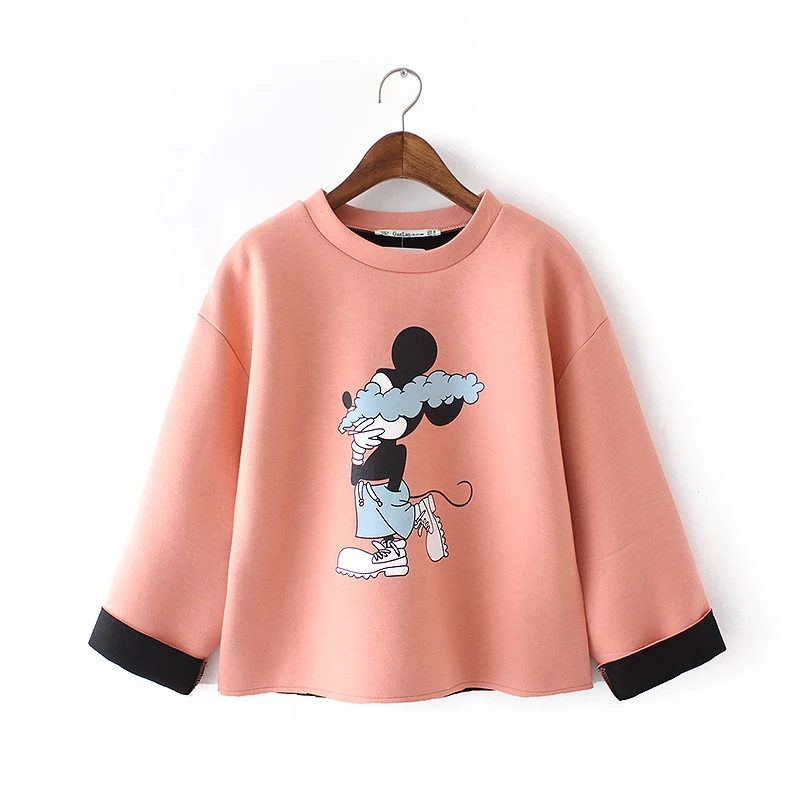 Women Sweatshirts Fashion cute Cartoon print short sport ...