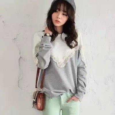 Women sweatshirts Fashion elegant sweet lace patchwork ...