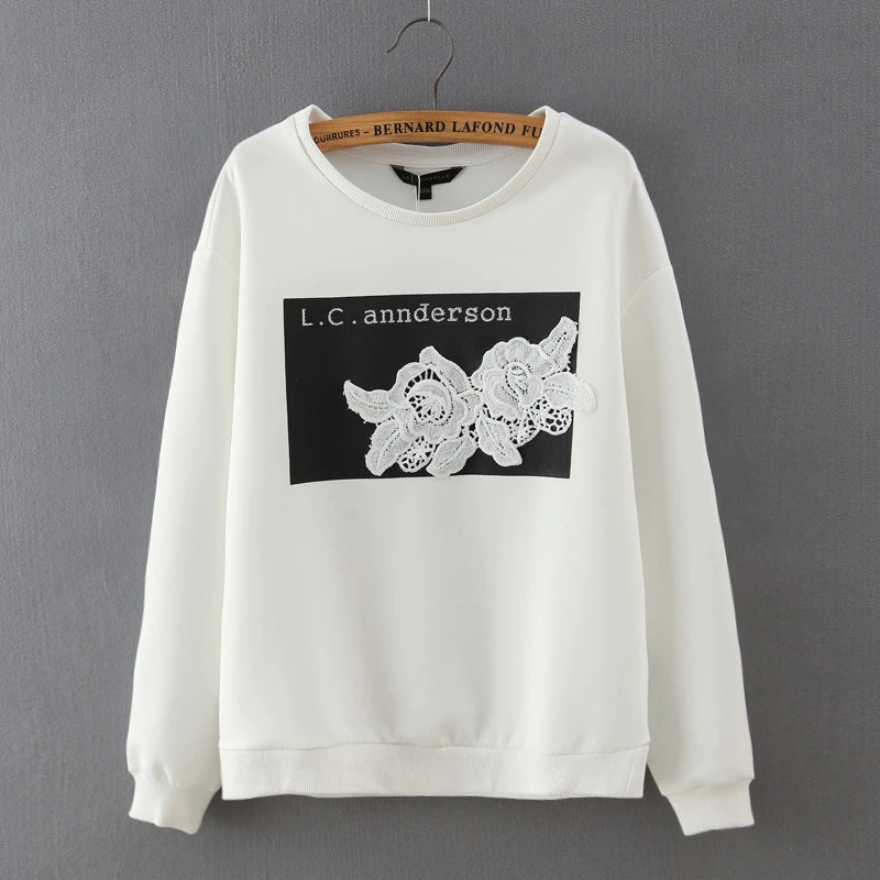 Women sweatshirts Fashion elegant white lace floral ...
