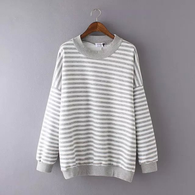 Women Sweatshirts Fashion gray striped print winter ...