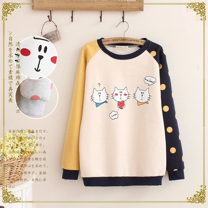 Women sweatshirts Fashion winter elegant cute Dot Cat print Color Matching pullover Casual hoodies long Sleeve O-neck brand