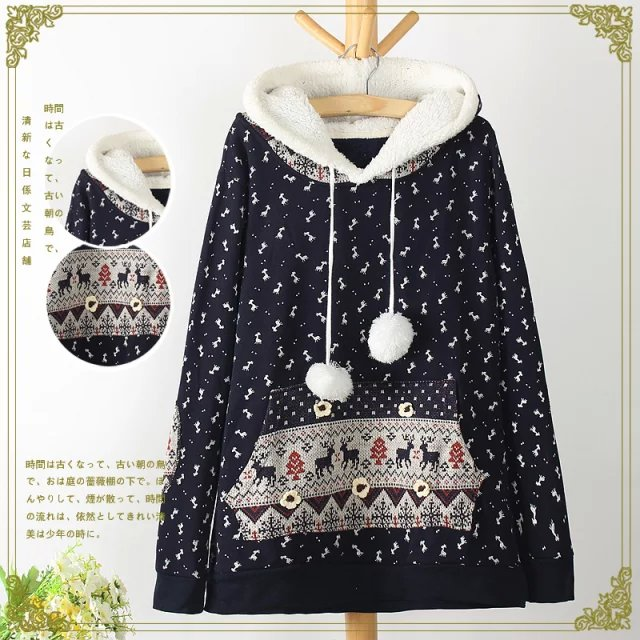 Women sweatshirts Fashion Winter thick deer print knitted ...