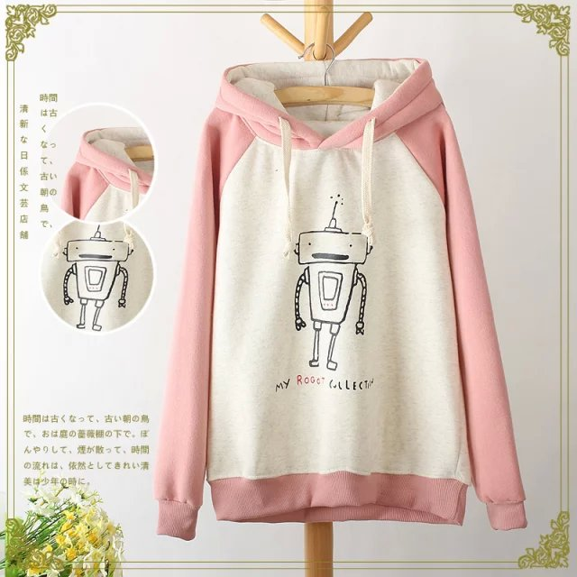 Women sweatshirts Fashion Winter thick Robot print sport ...