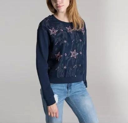 Women Sweatshirts Spring Fashion blue Star Embroidery ...