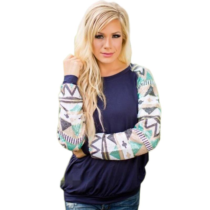 Women Sweatshirts Spring Fashion Geometric Print Blue ...