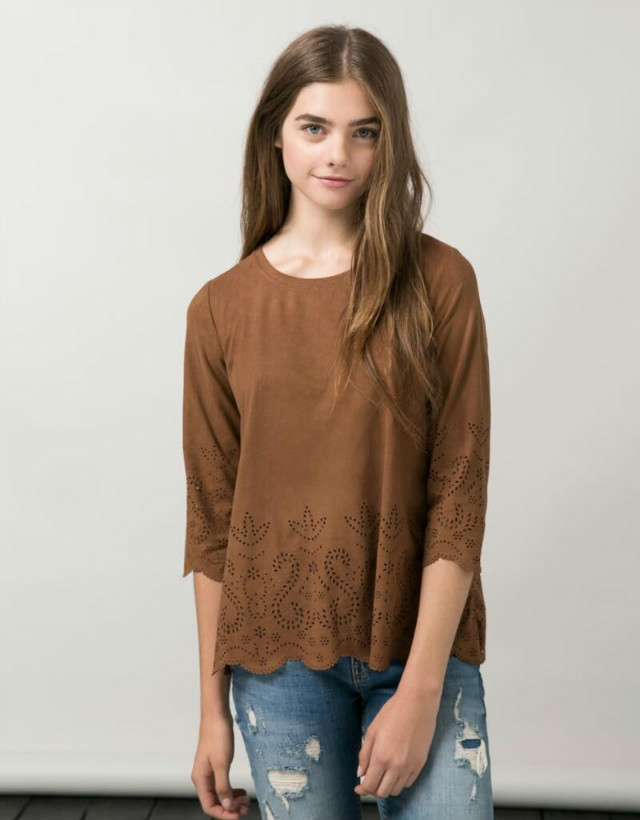 Women T-shirt Fashion brown faux suede leather O-neck ...