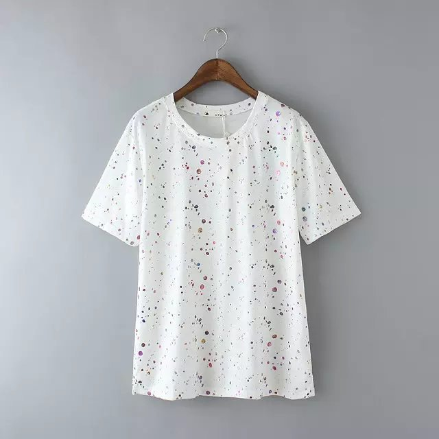 Women T-shirts Fashion Cotton Bronzing Print short sleeve ...