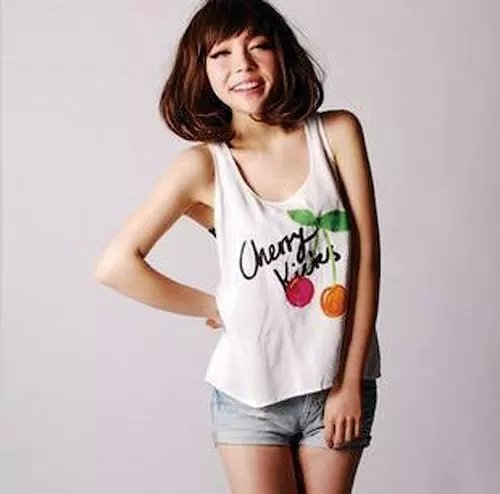 Women tanks Fashion Elegant Cherry print white Tops ...