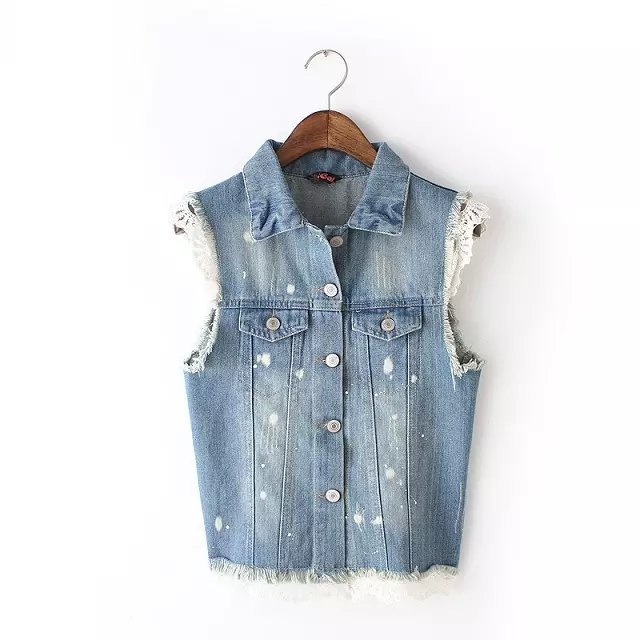 Women vest Jacket Fashion Denim Turn-down collar pockets ...