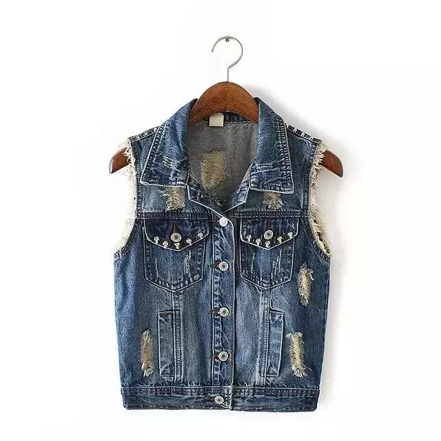 Women vest Jacket Fashion elegant Denim Turn-down collar ...