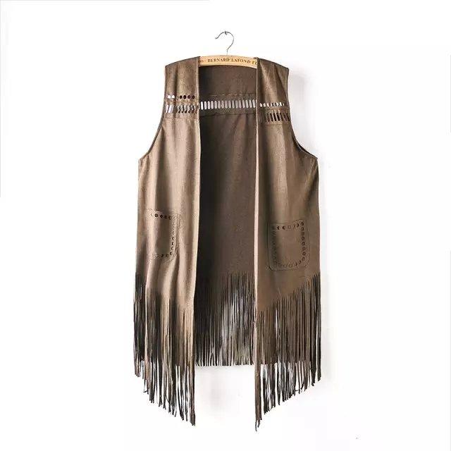 Women Waistcoat Fashion Vintage Retro Khaki Faux Suede ...