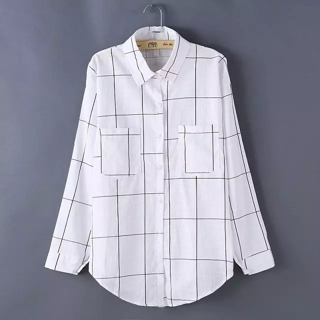 Women White Blouse Fashion Office style Black Plaid ...
