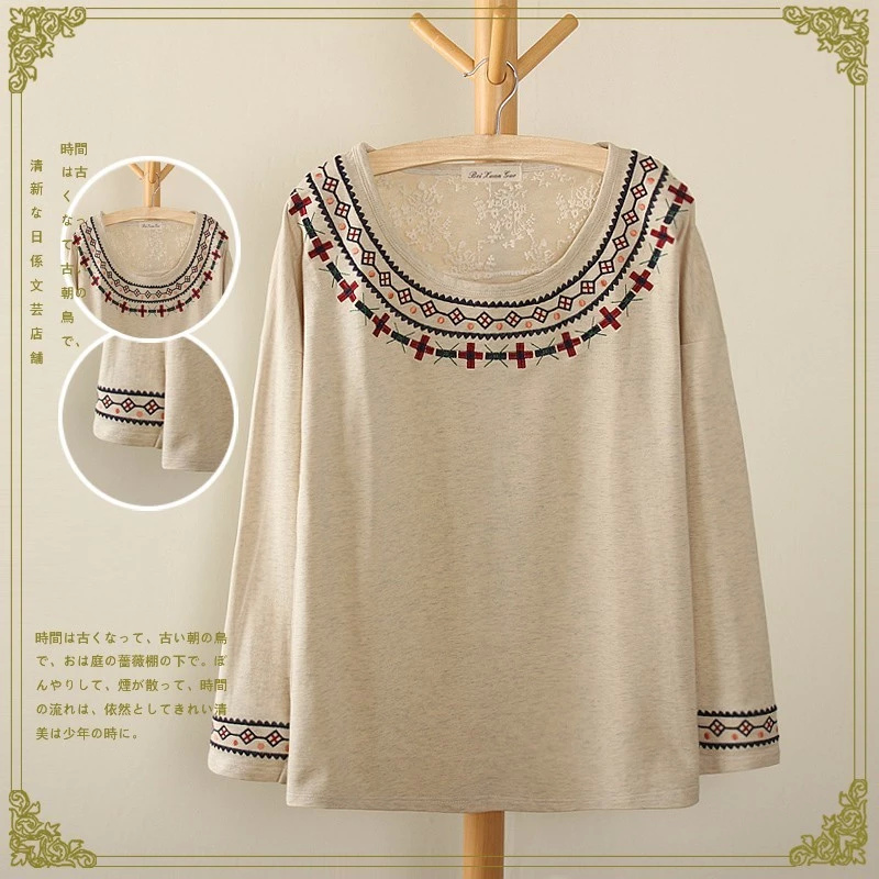 Women winter beige cotton T-shirts fashion Geometric ...