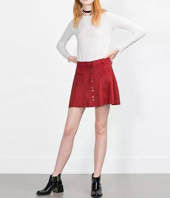 Women winter Fashion American apparel red Faux Suede ...