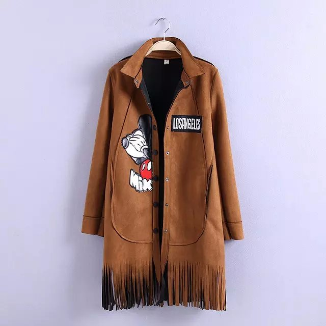 Women Winter Fashion brown Faux Suede Leather Cartoon ...