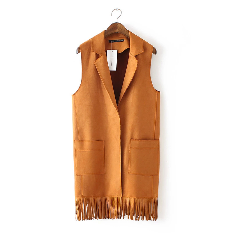 Women winter Fashion orange Faux Suede Leather Vest ...