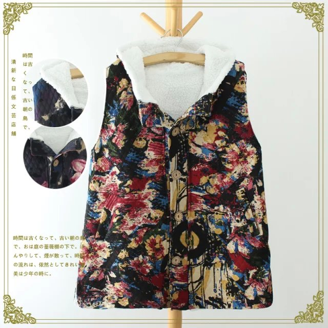 Women Winter Fashion thick warm floral print Hooded ...