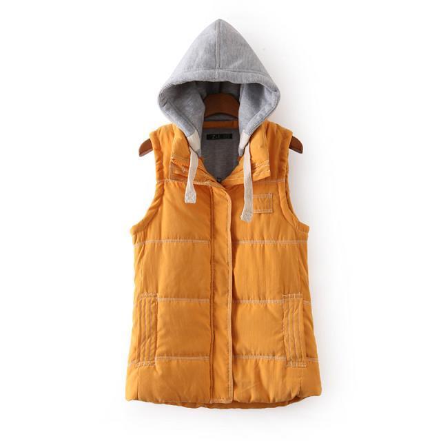 Women Winter Fashion Waistcoat Thick Warm yellow Cotton ...