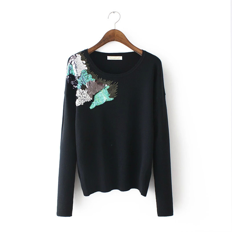 Women Winter Knitted Sweater Fashion Black Sequined ...
