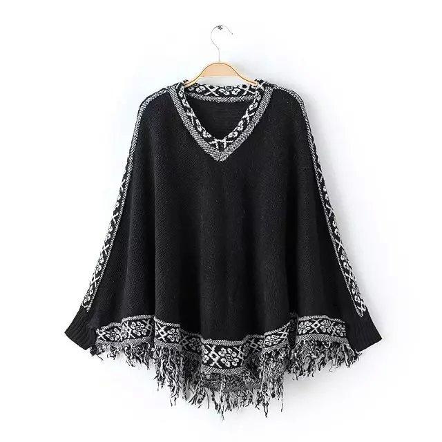 Women winter Sweaters Fashion black Geometric pattern ...