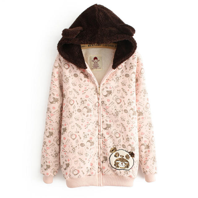 Women Winter Thick warm cute pink bear sequins Embroidery ...