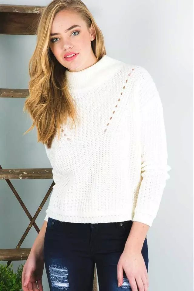 Women Winter warm Fashion white hollow out Pullover ...