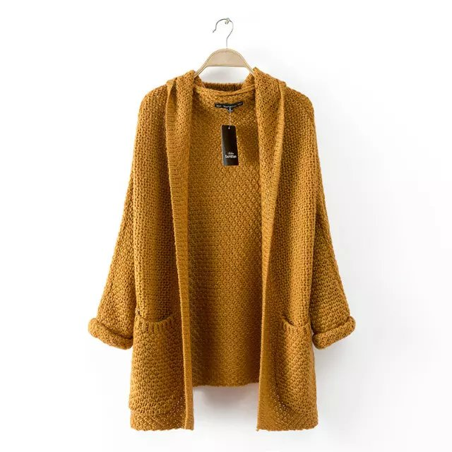 American Style Fashion Thick Sweaters Women Khaki Knitted Hooded Cardigans Batwing Sleeve pocket Casual brand top