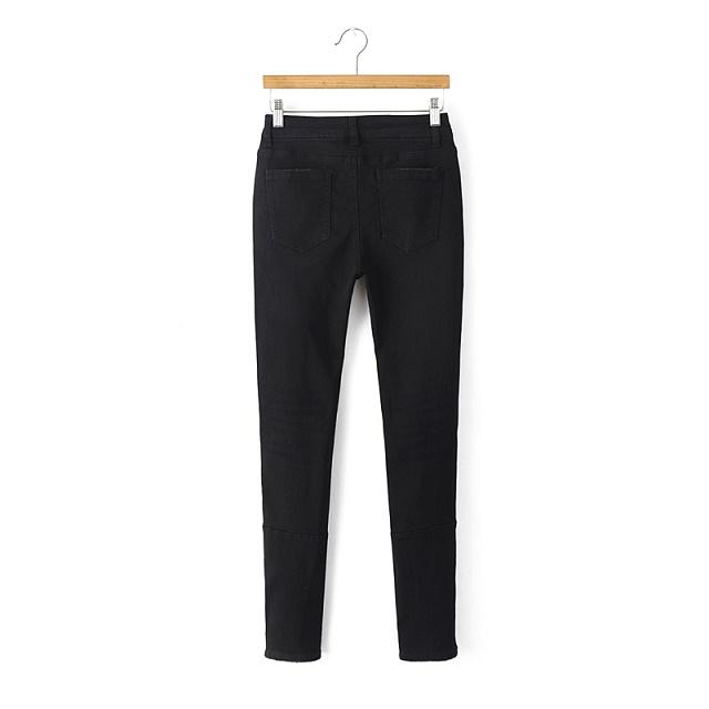 American Fashion Women black Denim Hole ripped Zipper Casual brand designer high waist stretch Jeans pocket pencil pants