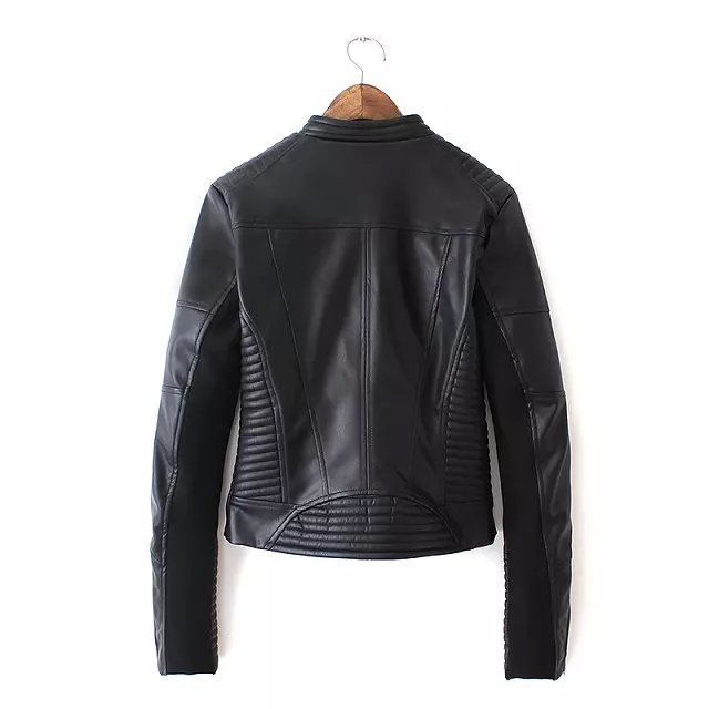 Fashion Women Punk style black Faux leather Turn-down collar jacket Zipper pocket casual jaqueta feminina Brand