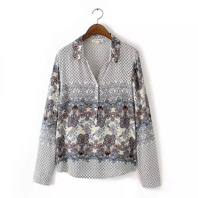 American Autumn Style Fashion Geometric Print blouse ...