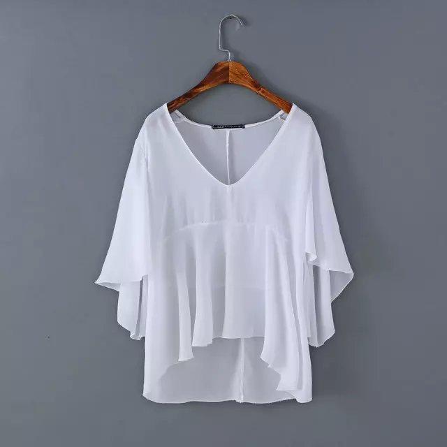 American Fashion Women Chiffon blouses vintage Flare ...