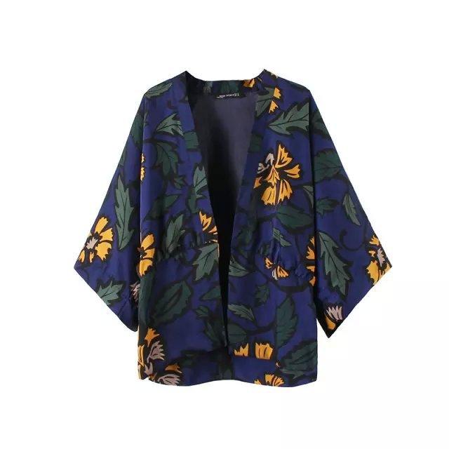 Autumn European Fashion Vintage Floral Print Kimono ...