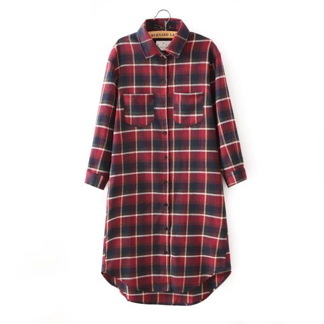 Autumn Fashion lady red plaid cotton shirt Dresses for ...