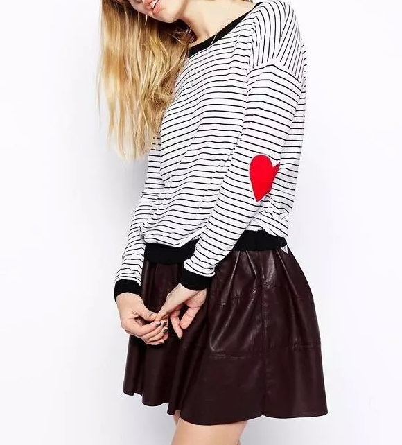 Autumn Fashion women Black white Striped Love Heart ...