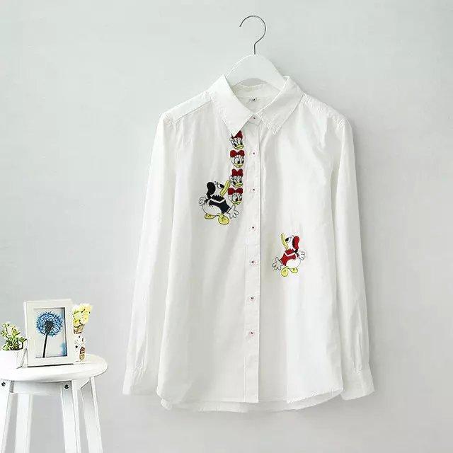 Autumn Fashion women cartoon Embroidered white Turn-...