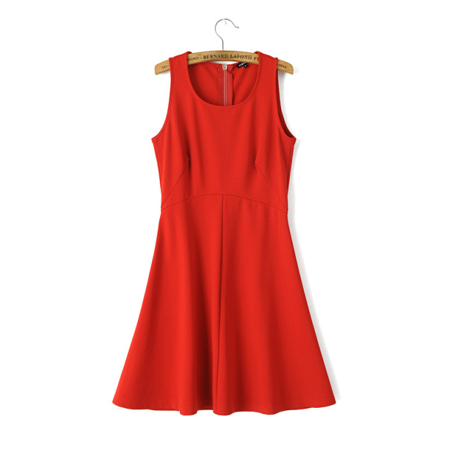 Autumn Fashion women Elegant red sleeveless Zipper Dress ...