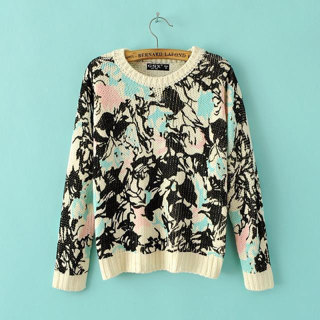 Autumn Fashion women Floral pattern cropped short Pullover ...