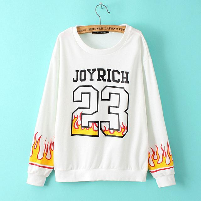 Autumn Fashion Women letter number basketball fire print ...