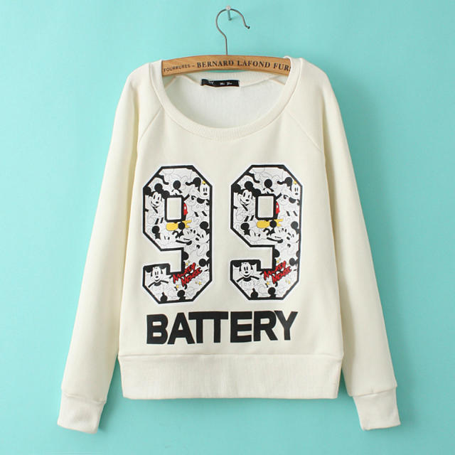 Autumn Fashion Women letter number print white pullovers ...