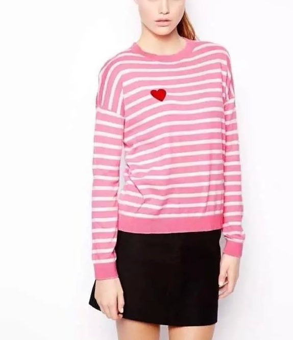 Autumn Fashion women Striped Pink Love Heart pattern ...