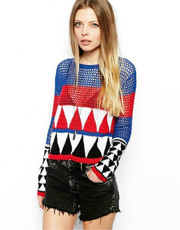 Autumn Fashion Womens' vintage geometric pattern Pullover ...
