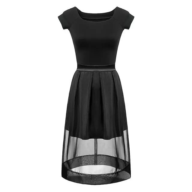 Europe Fashion Women Elegant Organza Dress vintage Square ...